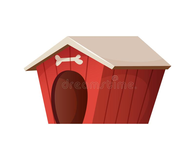 Red cute dog house. Cartoon style illustration stock illustration
