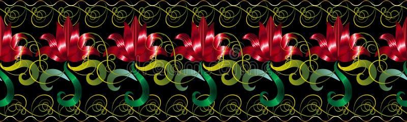 Red 3d flowers seamless border pattern. Vector floral black back vector illustration