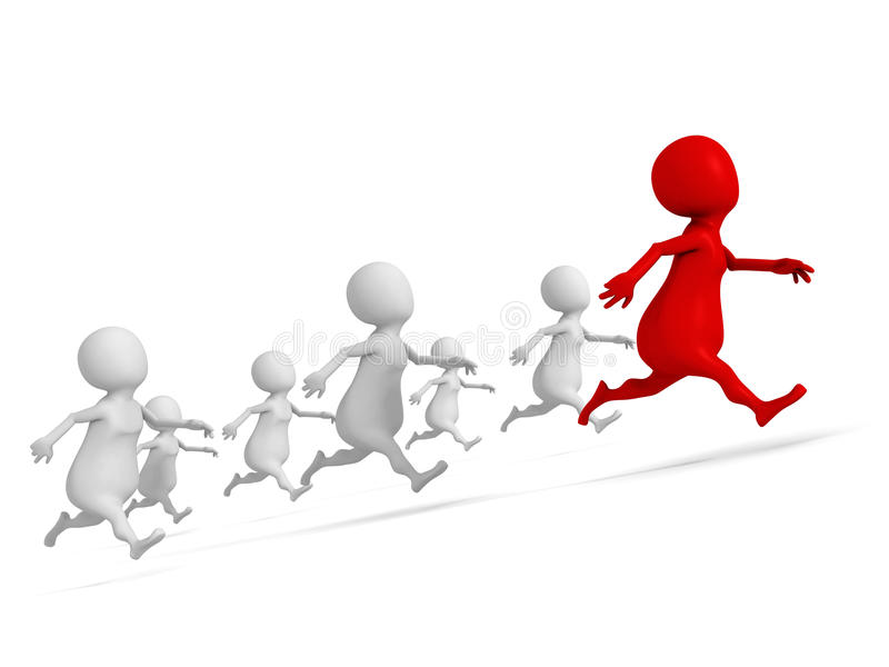 Red 3d leader man of human race. success winning vector illustration