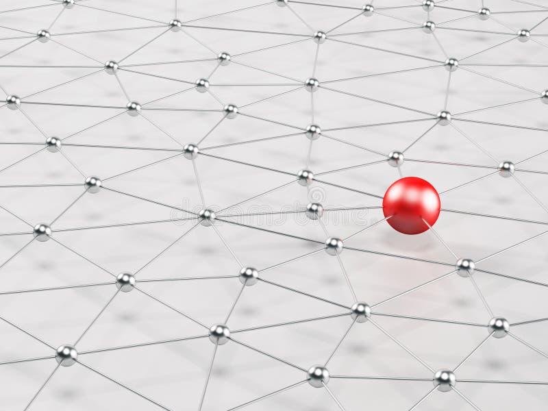red 3D Nodos conectados stock de ilustración