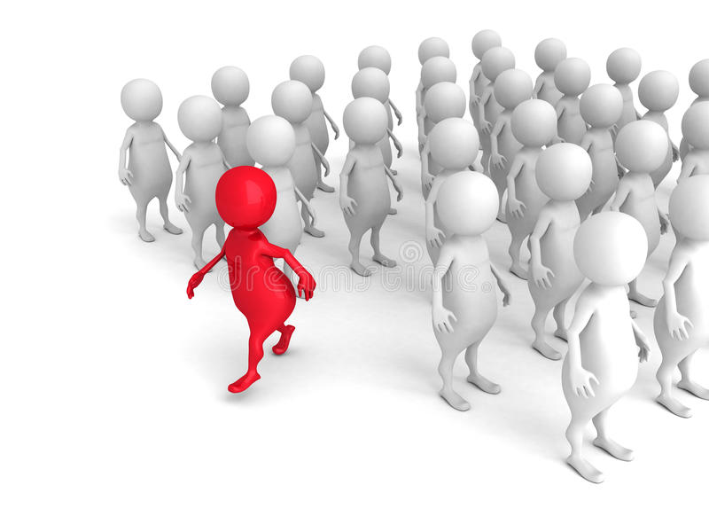Red 3d Person Out From Crowd. Individuality Leadership Concept vector illustration