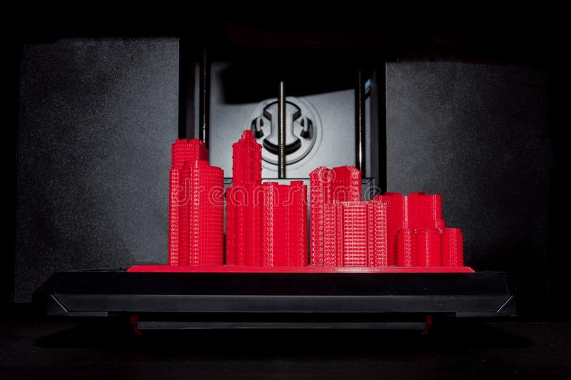 Red 3D printed city stock images