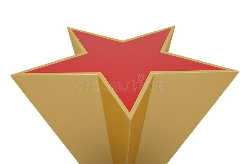 Red 3D star isolated on white background. 3D illustration.  stock illustration