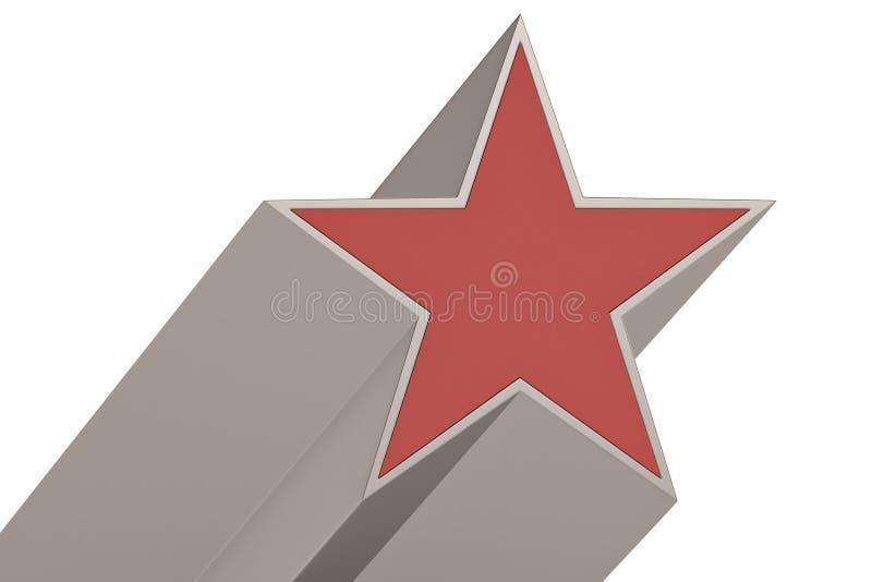 Red 3D star isolated on white background. 3D illustration.  vector illustration