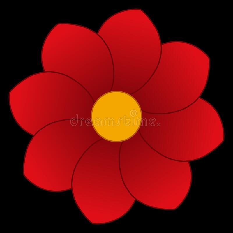 Red dahlia flower on black icon stock photography