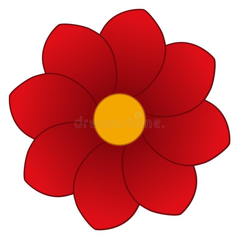 Red dahlia flower on white icon royalty free stock photos
