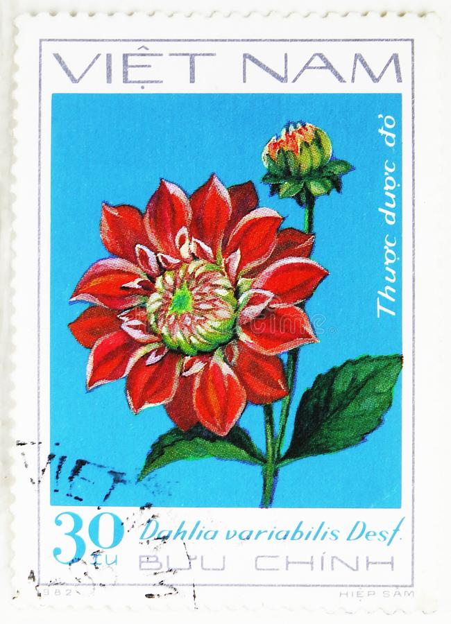 Red Dahlia, Dahlia serie, circa 1982. MOSCOW, RUSSIA - JULY 25, 2019: Postage stamp printed in Vietnam shows Red Dahlia, Dahlia serie, circa 1982 royalty free stock photos