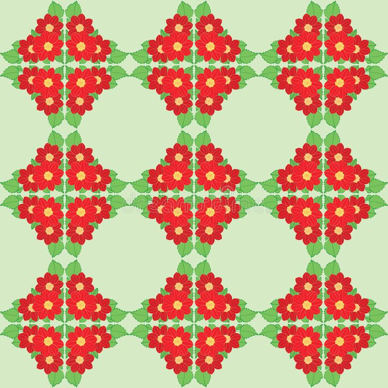 Red dahlias flowers with green leaves on light green seamless pattern - vector background with floral ornament vector illustration