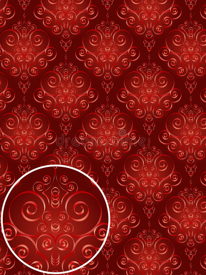 Download Red Damask Style Pattern stock vector. Image of damask - 2401485