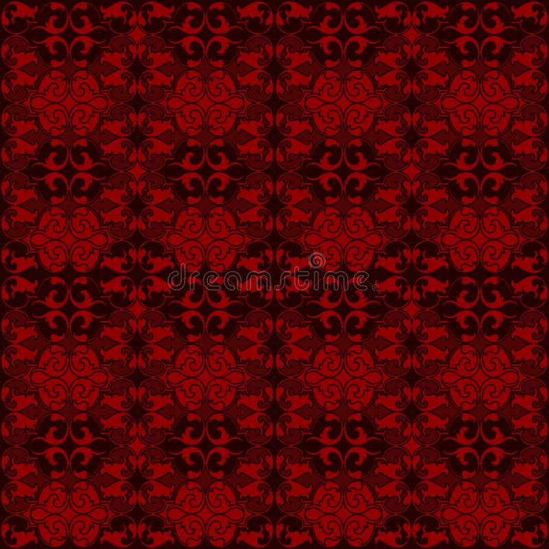 Red damask tapestry with floral patterns stock illustration