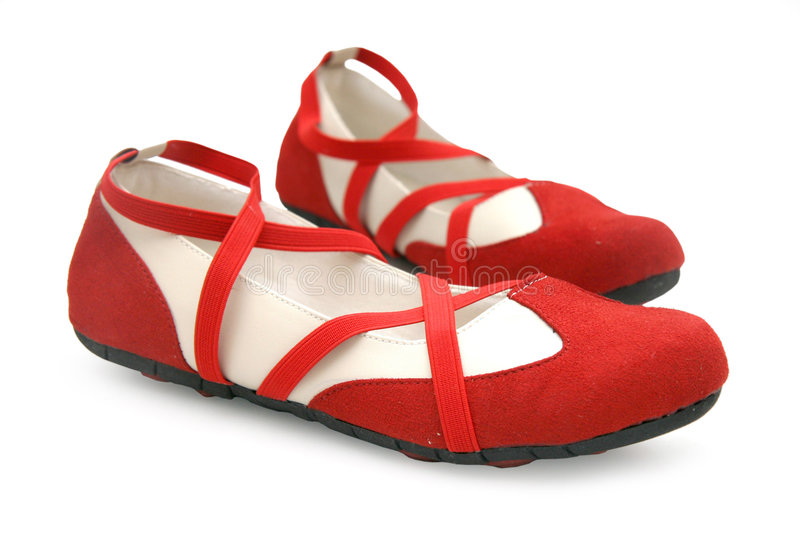 Red dance shoes stock photo