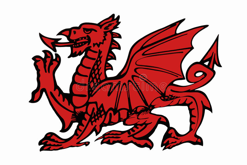 dragon cutout template - red daragon of wales isolated for cutout stock