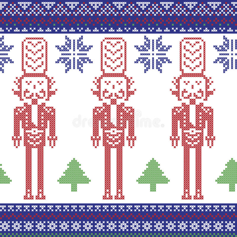 Free Red , Dark Blue , And Green Nordic Christmas Pattern With Nutcracker Soldier , Xmas Trees , Snowflakes, Stars, Snow Decorative Or Royalty Free Stock Image - 59079896
