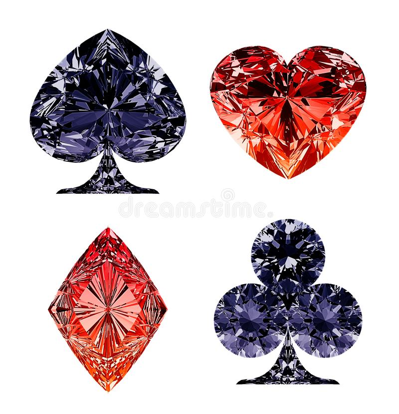 Red and dark blue diamond shaped card suits royalty free illustration