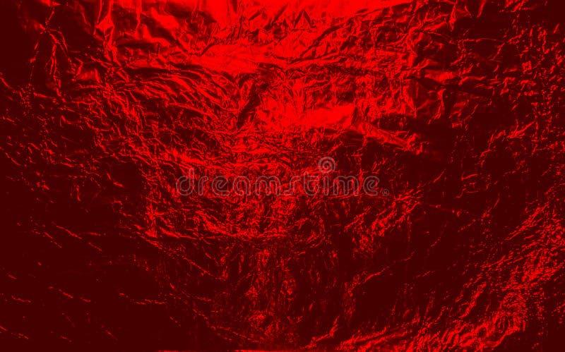 Red hellish  Halloween crumpled aluminum, titanium shiny foil background stock photos