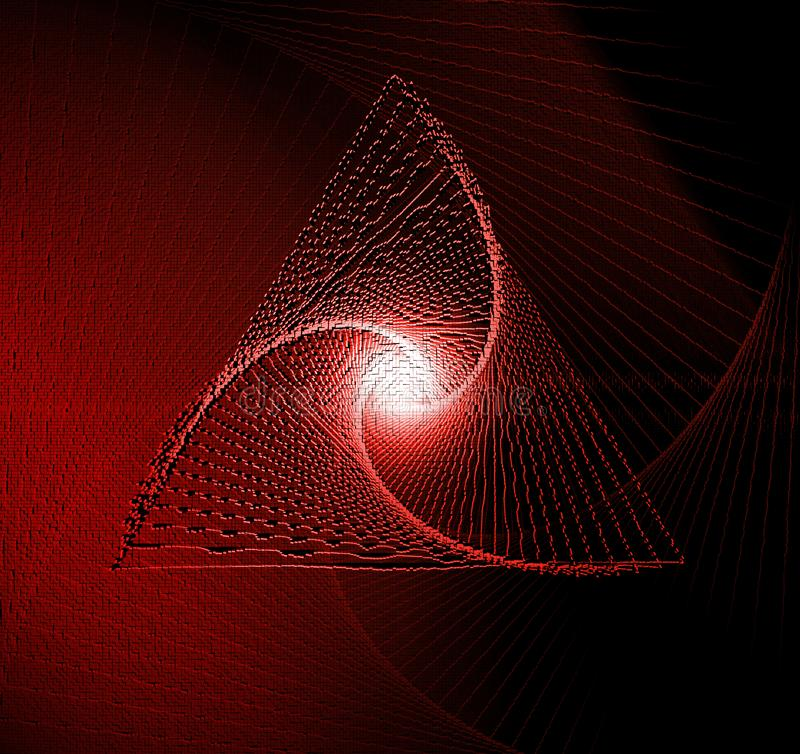 Red and dark swirl 3d cube geometric background, 3D rendering in cubic pixel mosaic technique stock illustration