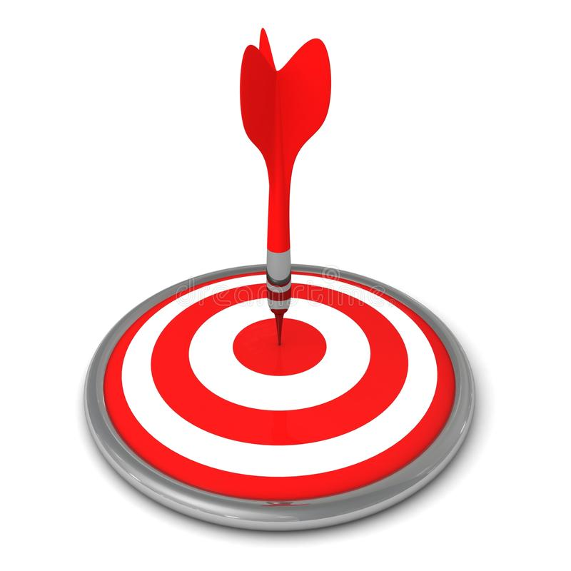 Red Dart Successfully Hitting A Target On White Royalty Free Stock Photo