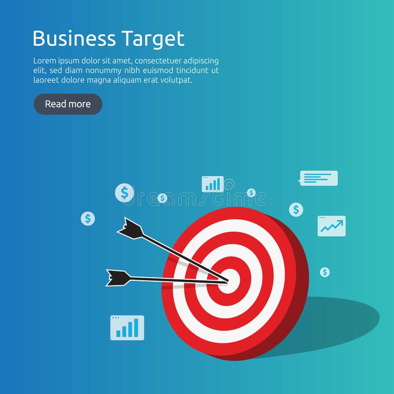 red dartboard center goal. strategy achievement and business success flat design. Archery dart target and arrow for banner or stock illustration