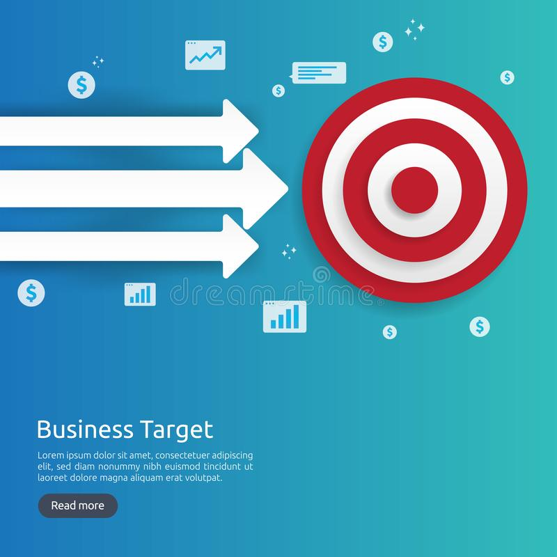 Red dartboard center goal. strategy achievement and business success flat design. Archery dart target and arrow for banner or. Background. vector concept with royalty free illustration