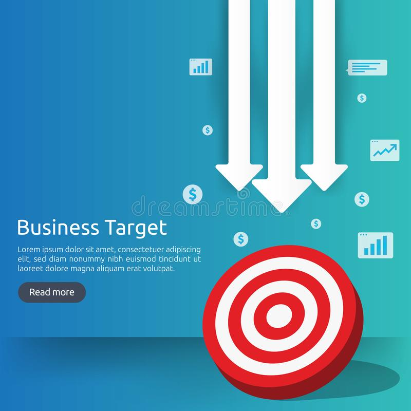 Red dartboard center goal. strategy achievement and business success flat design. Archery dart target and arrow for banner or. Background. vector concept with vector illustration