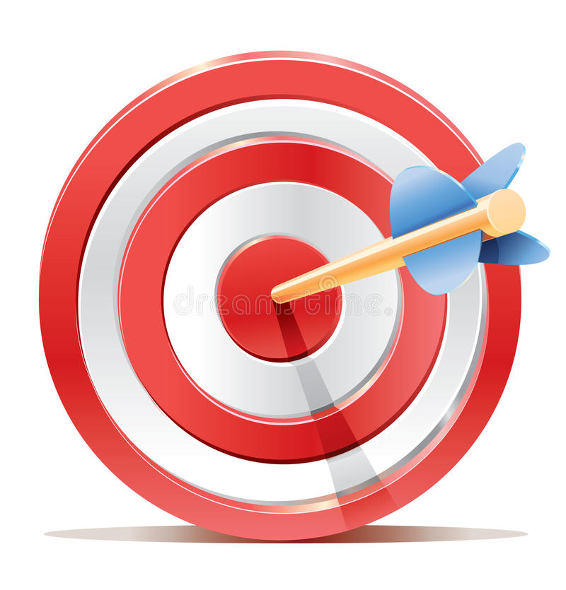 Red darts target aim and arrow. stock illustration