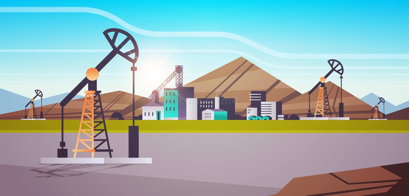 Red de bombas de petróleo energía zona industrial petróleo perforación de combustibles fósiles concepto de producción de combusti libre illustration