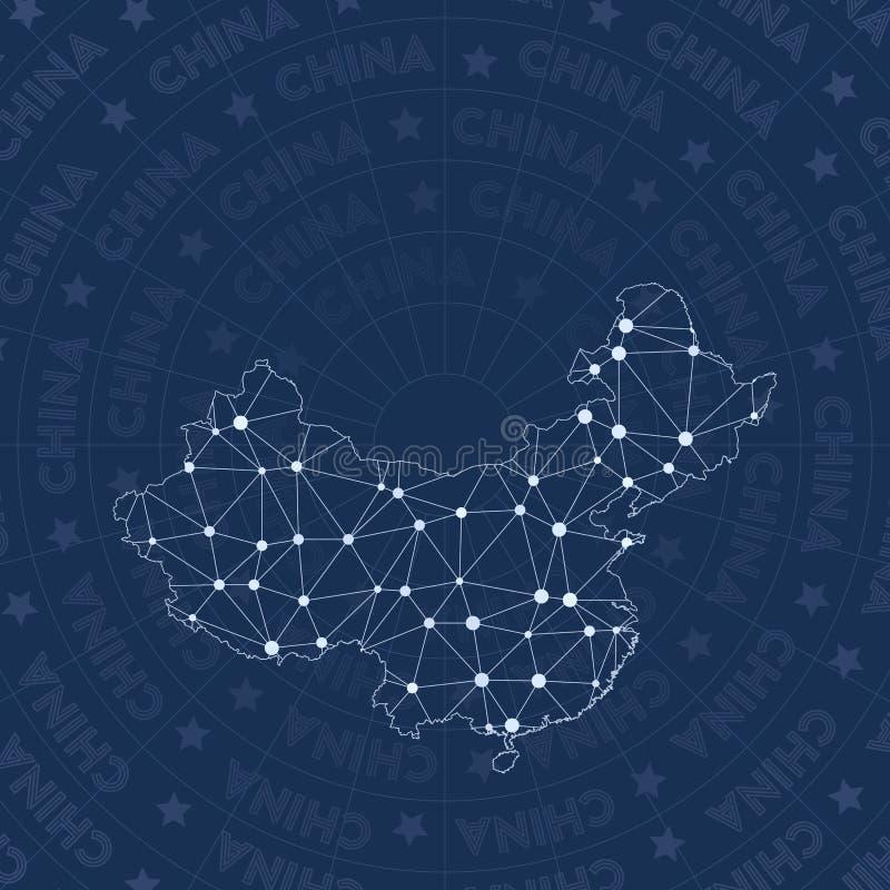 Red de China, mapa del país del estilo de la constelación stock de ilustración