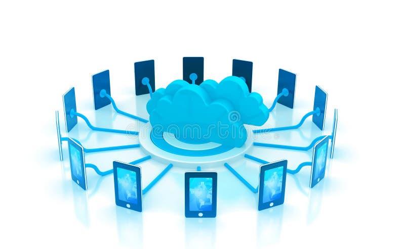 Red de computación de la nube stock de ilustración