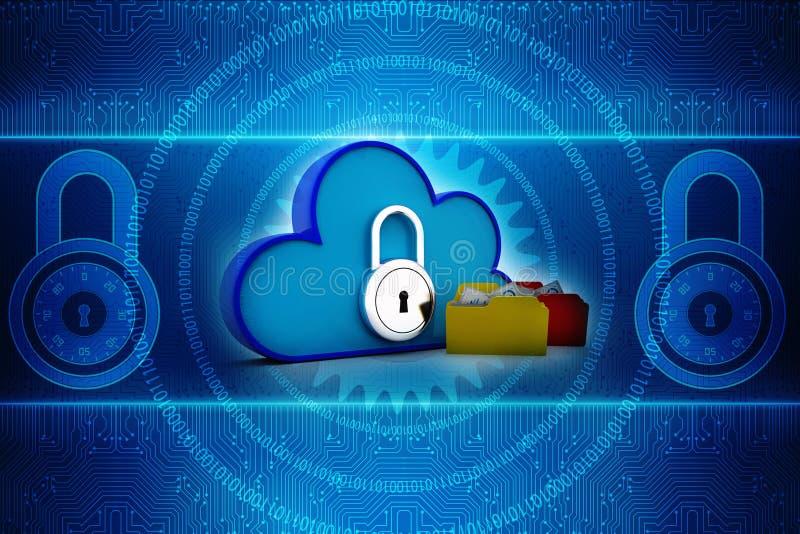 Red de computación de la nube aislada en fondo de la tecnología 3d rinden imágenes de archivo libres de regalías