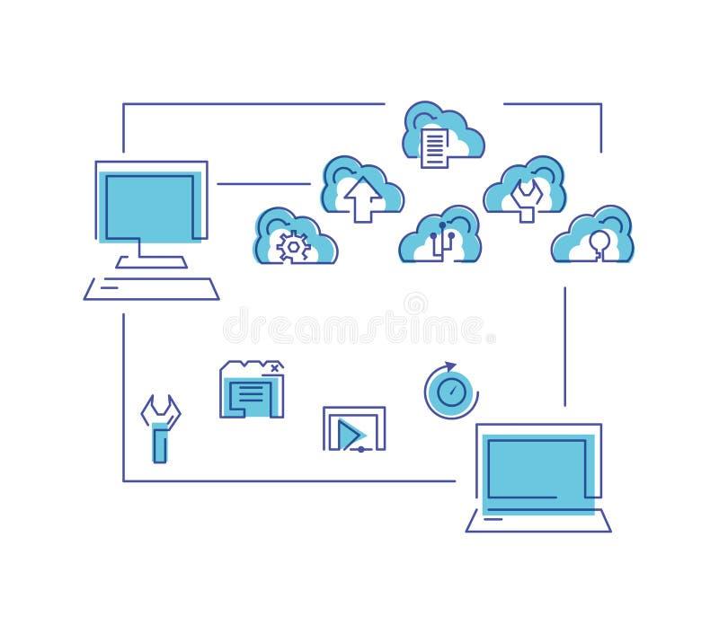 Red de computación de la nube con los ordenadores stock de ilustración