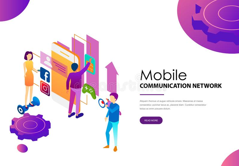 Red de comunicaciones móviles moderna social para la gente libre illustration