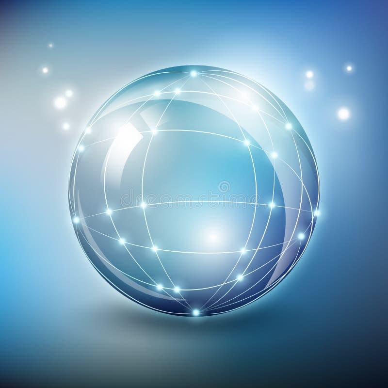 Red de cristal de la esfera del vector abstracto stock de ilustración