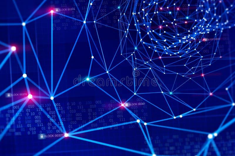 Red de información global Protección y almacenamiento de datos digitales usando la tecnología del blockchain Inteligencia artific imágenes de archivo libres de regalías