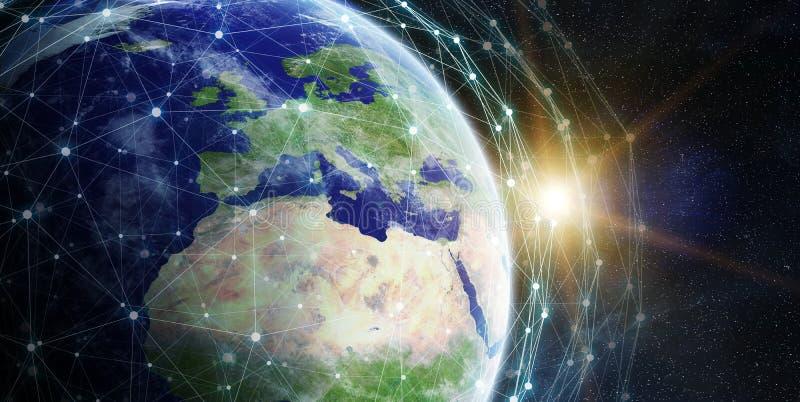 Red de intercambio de datos y global sobre la representación del mundo 3D stock de ilustración