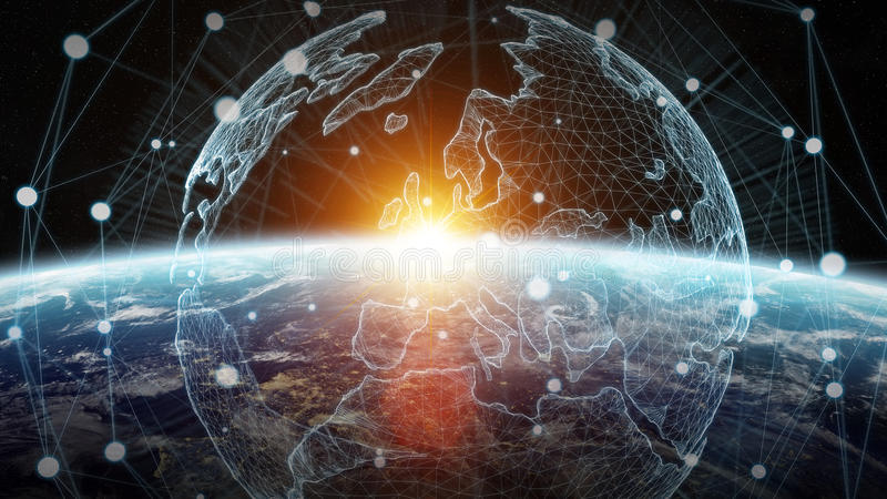 Red de intercambio de datos y global sobre la representación del mundo 3D ilustración del vector
