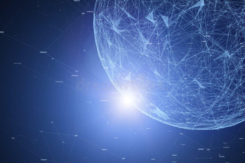 Red de la cadena de bloque con la esfera futurista imagen de archivo libre de regalías