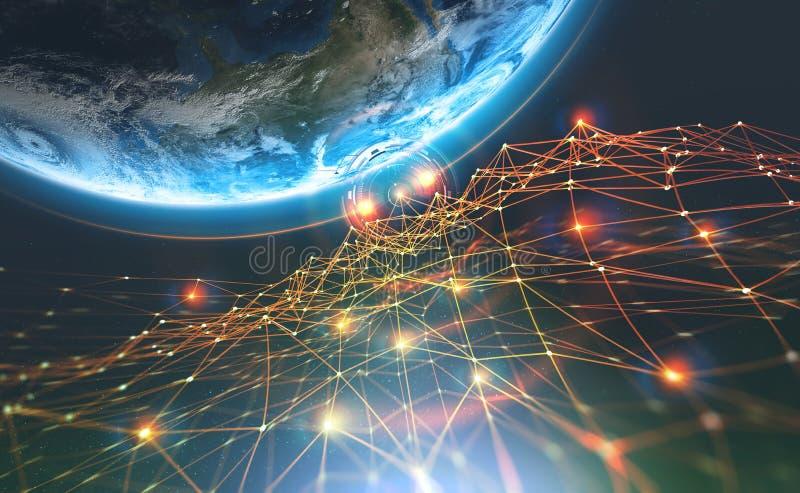 Red de la cadena de bloque y tierra del planeta Inteligencia artificial Base de datos descentralizada global imagen de archivo
