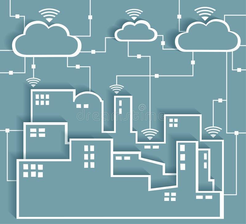 Red de la ciudad de las etiquetas engomadas del recorte del papel de la conectividad de Cloud Computing ilustración del vector