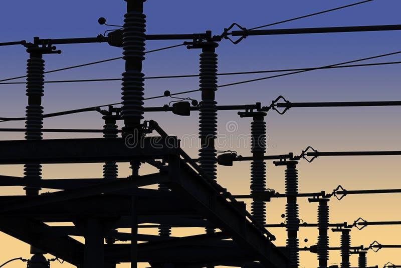 Red de la corriente eléctrica en silueta fotos de archivo libres de regalías