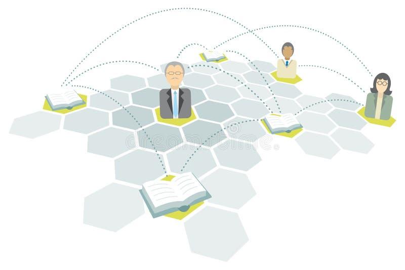Red de la educación/comunicación de la escuela y de la universidad libre illustration