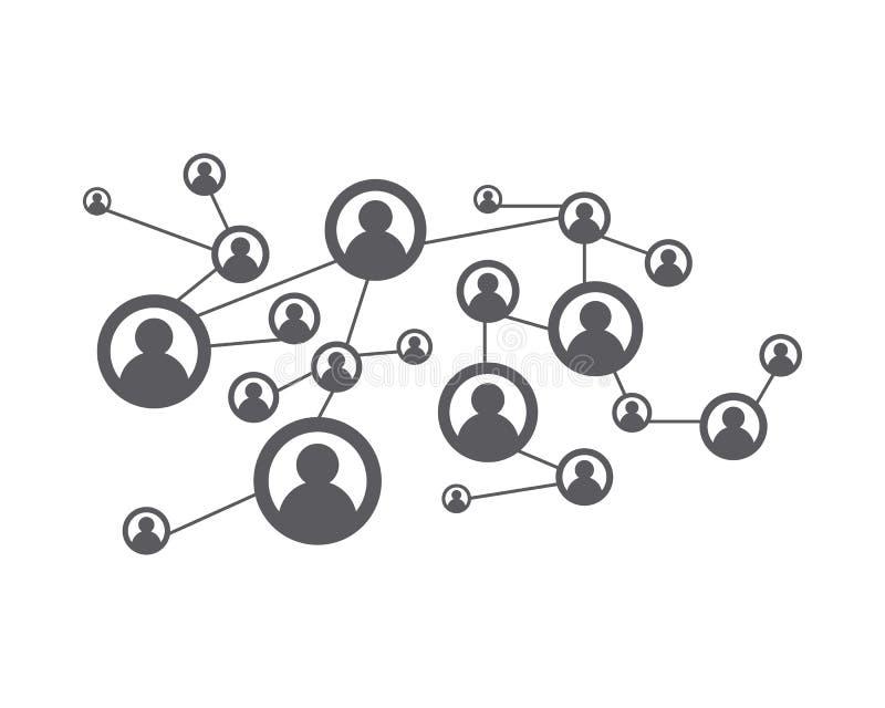 Red de la gente e icono social stock de ilustración
