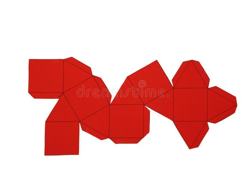 Red de la geometría de Cuboctahedron sólido de Arquímedes forma de 2 dimensiones que se puede doblar para formar una forma de 3 d stock de ilustración