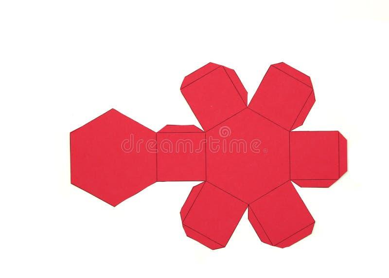 Red de la geometría de la prisma hexagonal forma de 2 dimensiones que se puede doblar para formar una forma de 3 dimensiones stock de ilustración