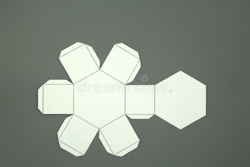 Red de la geometría de la prisma hexagonal forma de 2 dimensiones que se puede doblar para formar una forma de 3 dimensiones libre illustration