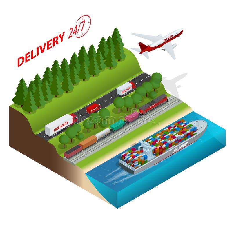 Red de la logística Cargo que acarrea, transporte de carril, envío marítimo, trucs de Aair del cargo Entrega de Ontime vehículos ilustración del vector