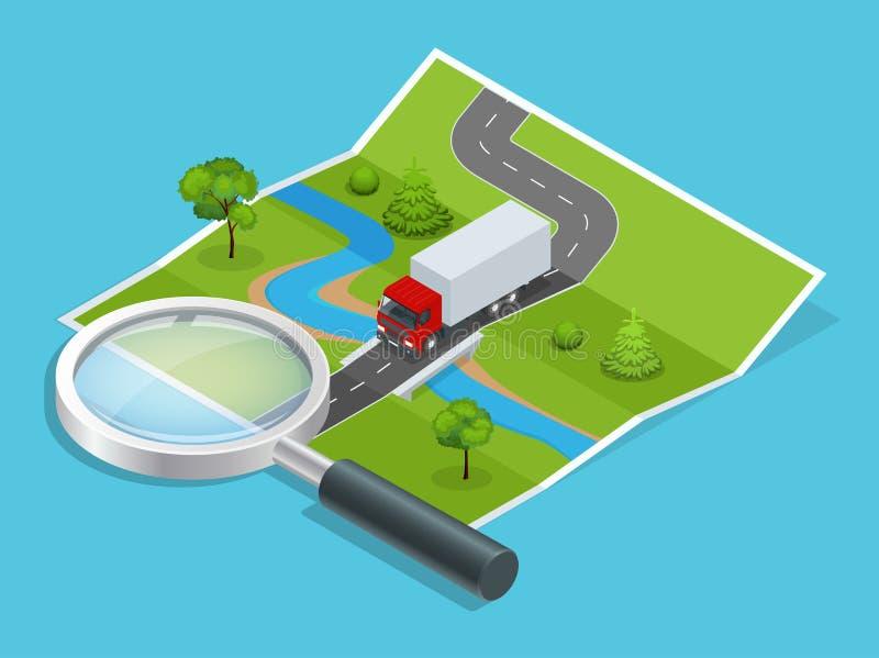 Red de la logística Transporte menos que envíos del camión Cargamento en línea de la calculadora de la petición en línea de la ci libre illustration