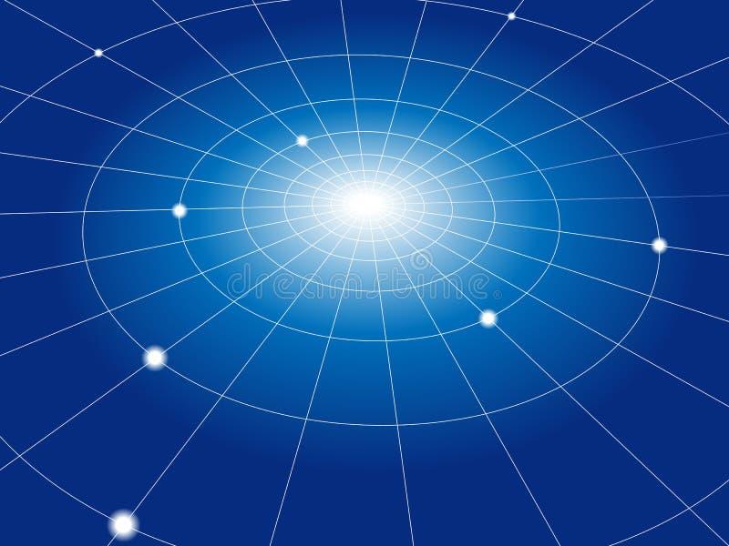Red de la red de los nodos de los círculos concéntricos ilustración del vector