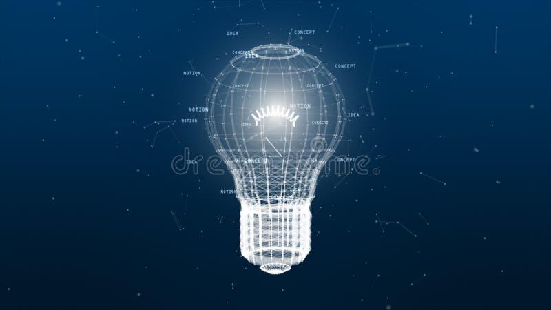 Red de la tecnología con la idea creativa del fondo azul digital de la lámpara para la red en concepto digital del mundo stock de ilustración