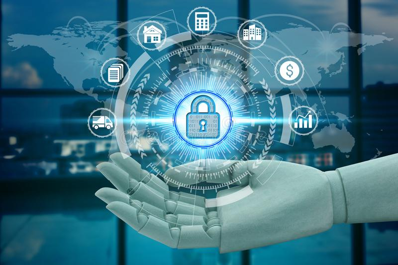 Red de la tenencia de la mano del robot usando el candado sobre la tecnología de la conexión de red, inteligencia financiera de imágenes de archivo libres de regalías