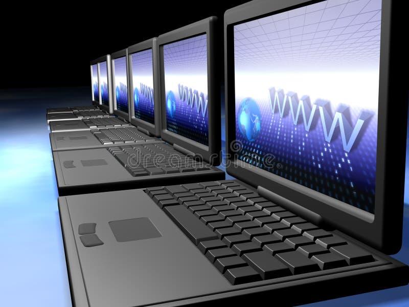 Red de las computadoras portátiles ilustración del vector